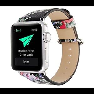 Apple Watch 38 mm Black Floral Leather Band